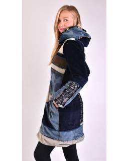 Modro šedý sametový kabátek s kapucí, patchwork a Chakra tisk, pletení