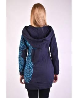 Prodloužená tmavě modrá mikina s velkou kapucí, mandala potisk