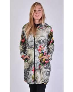 Kabát s kapucí, zapínaný na zip, potisk papoušků a květin