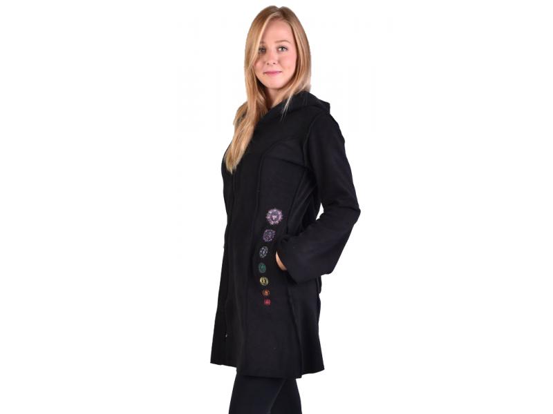 Černý fleecový kabátek s dlouhou kapucí, zapínání na zip, výšivka, kapsy