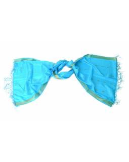 Šátek - polyester, sárí, tyrkysový, 195x55cm