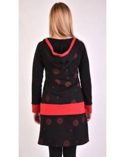 Mikinové šaty, dlouhý rukáv, černo-červené, kapuce, kapsa