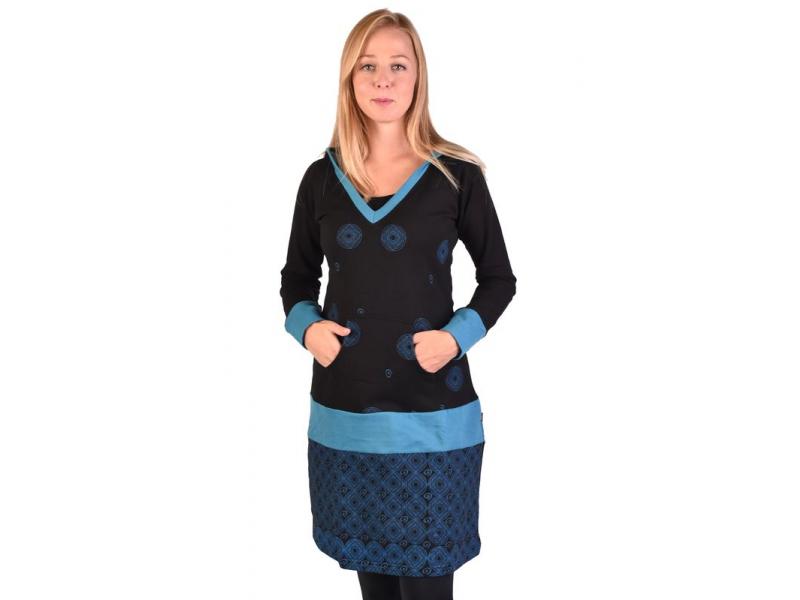 Mikinové šaty, dlouhý rukáv, černo-modré s kapucí, kapsou a potiskem