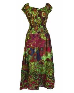 Dlouhé šaty s potiskem, balonový rukávek, zelené