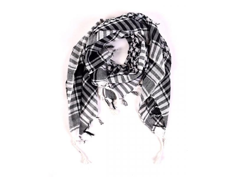"""Šátek """"Palestina"""" (arabský šátek) bílo-černý, bavlna, 100x100cm"""