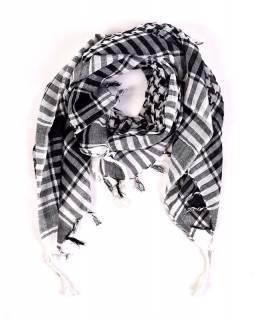 """Šátek, """"Palestina"""", bílo/černý, 100x100cm"""