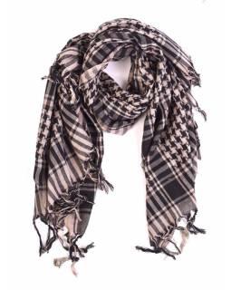 """Šátek, """"Palestina"""", sv.hnědá/černá, cca 115*125cm"""