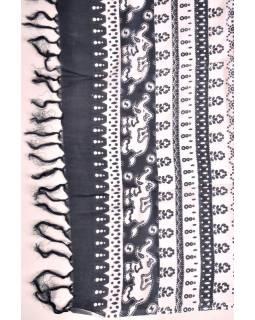 Sárong, šedý s potiskem slonů, 100x180cm
