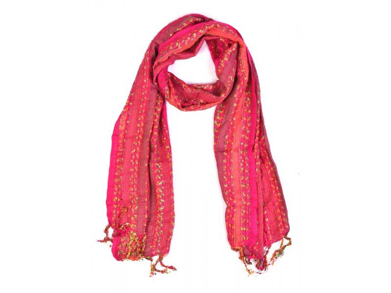 Šála, vytkávané barevné nitky, třásně, růžová, 70*180cm, viskóza