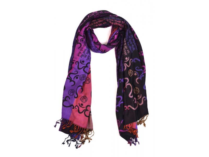 """Šála, viskóza, """"Óm design"""", písmo, fialovo-barevný, třásně, 70x180cm"""