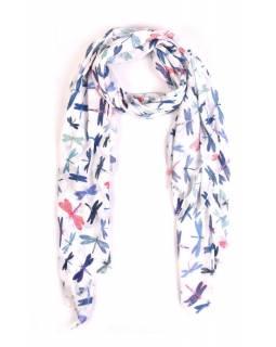 Šátek s motivem vážek a třásněmi, bílý, 180x75cm