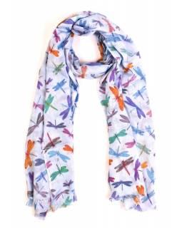 Šátek s motivem vážek a třásněmi, světle fialový, 180x75cm