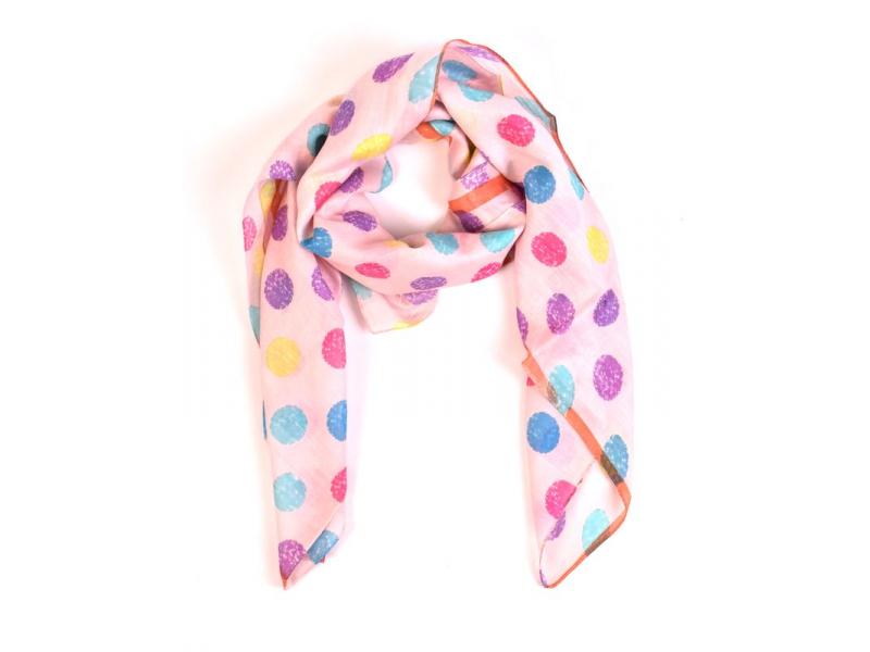 Šátek s barevnými puntíky, čtverec, meruňkový 105x105cm