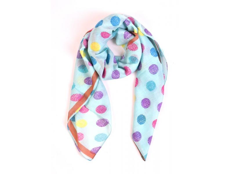 Šátek s barevnými puntíky, čtverec, světle modrý, 105x105cm