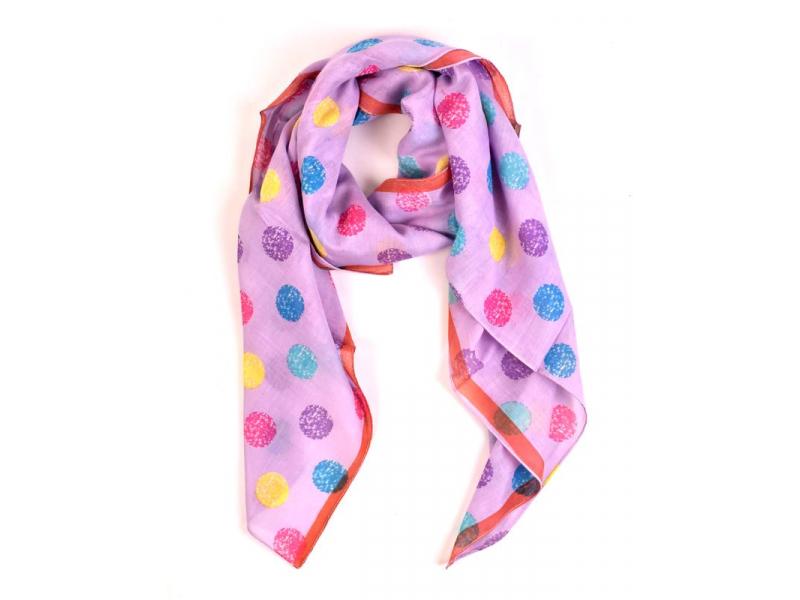 Šátek s barevnými puntíky, čtverec, fialový, 105x105cm