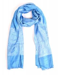 Luxusní šál se vzorem, světle modrý, 180x70cm
