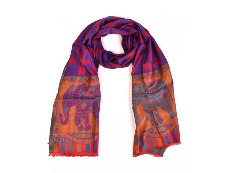 Velká šála s motivem slonů, fialová, 70x180cm