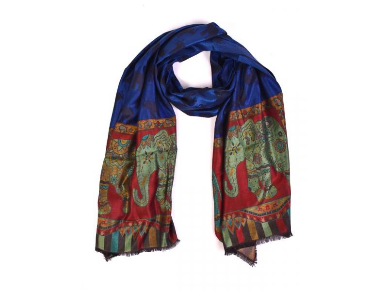 Velká šála s motivem slonů, modrá, 70x180cm