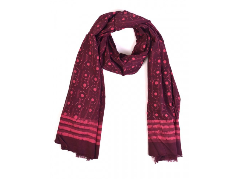 Šála, bavlna, barveno přírodními barvami, růžovo-fialový, puntíky 70x180cm