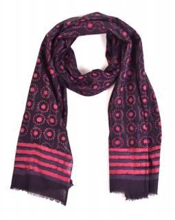 Šála, bavlna, barveno přírodními barvami, růžovo-modrý, puntíky 70x180cm