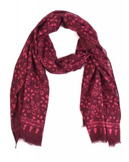 Šála, bavlna, barveno přírodními barvami, růžovo-fialový, květiny 70x180cm