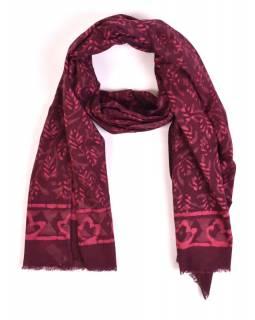 Šála, bavlna, barveno přírodními barvami, růžovo-fialový, lístky 70x180cm