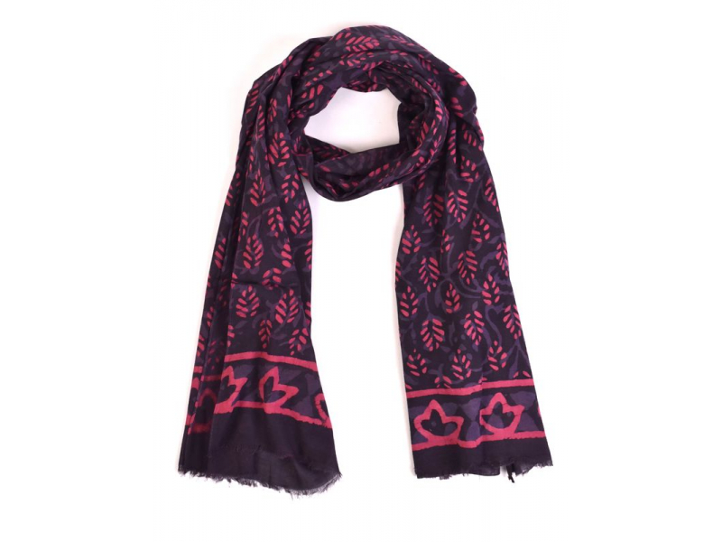 Šála, bavlna, barveno přírodními barvami, růžovo-modrý, lístky 70x180cm