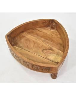 Stolek z mangového dřeva, ručně vyřezávaný, 45x45x18cm