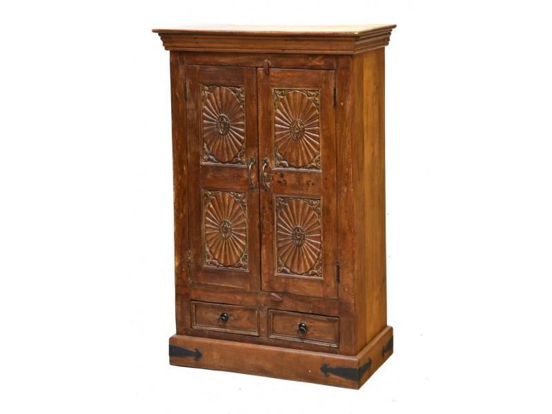 Skříň z teakového dřeva, ruční řezby, 80x41x127cm