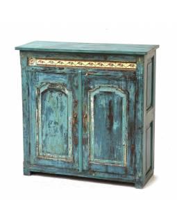 Skříň z teakového dřeva zdobená keramickými dlaždicemi, 100x40x101cm
