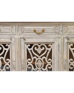Komoda z teakového dřeva, prosklená dvířka, 148x43x96cm