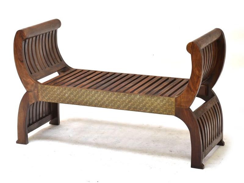 Sedátko z palisandrového dřeva, mosazné kování, 117x45x71cm