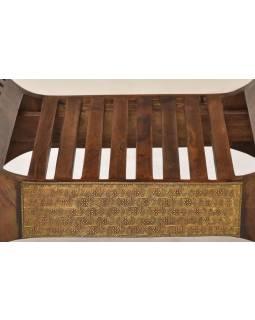 Sedátko z palisandrového dřeva, mosazné kování, 72x45x71cm