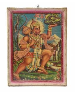 """Starý tisk v rámu, """"HANUMAN"""", Rajastan, antik, 28x36cm"""