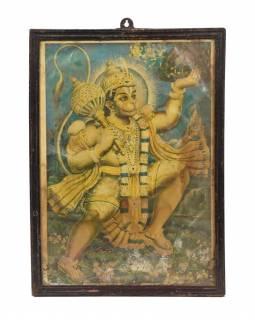 """Starý tisk v rámu, """"HANUMAN"""", Rajastan, antik, 27x38cm"""