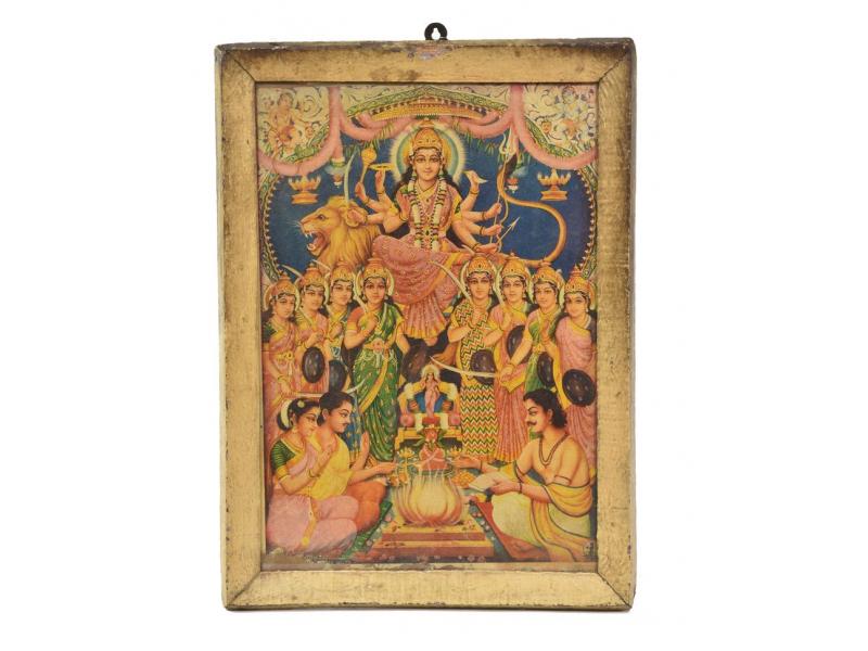 """Starý tisk v rámu, """"DURGA"""", Rajastan, antik, 27x38cm"""