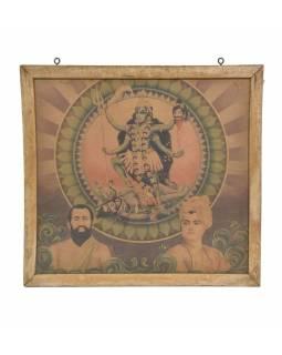 """Starý tisk v rámu, """"KÁLI"""", Rajastan, antik, 38x36cm"""