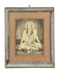 """Starý tisk v rámu, """"SVATÝ MUŽ"""", Rajastan, antik, 28x34cm"""