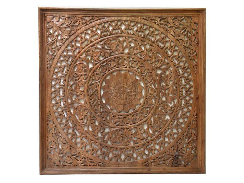Dřevěná mandala z mangového dřeva, 200x200x20cm