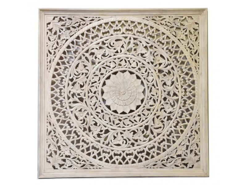 Dřevěná mandala z mangového dřeva, bílá patina, 200x200x20cm