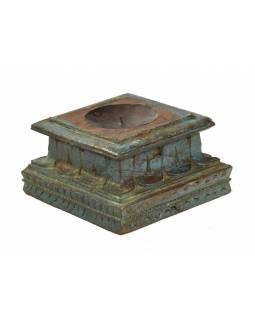 Svícen vyrobený z hlavice starého teakového sloupu, 25x25x14cm