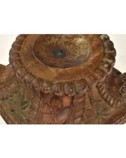 Svícen vyrobený z hlavice starého teakového sloupu, 30x30x22cm