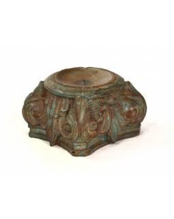 Svícen vyrobený z hlavice starého teakového sloupu, 20x20x14cm