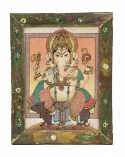 Obrázek v starém dřevěném rámu, písek sypaný na sklo, Ganeš, 19x1x24cm