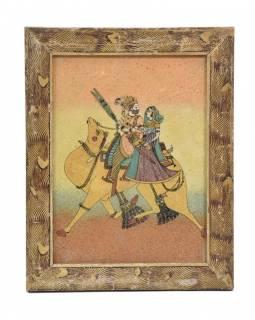 Obrázek v starém dřevěném rámu, písek sypaný na sklo, velbloud, 19x24cm