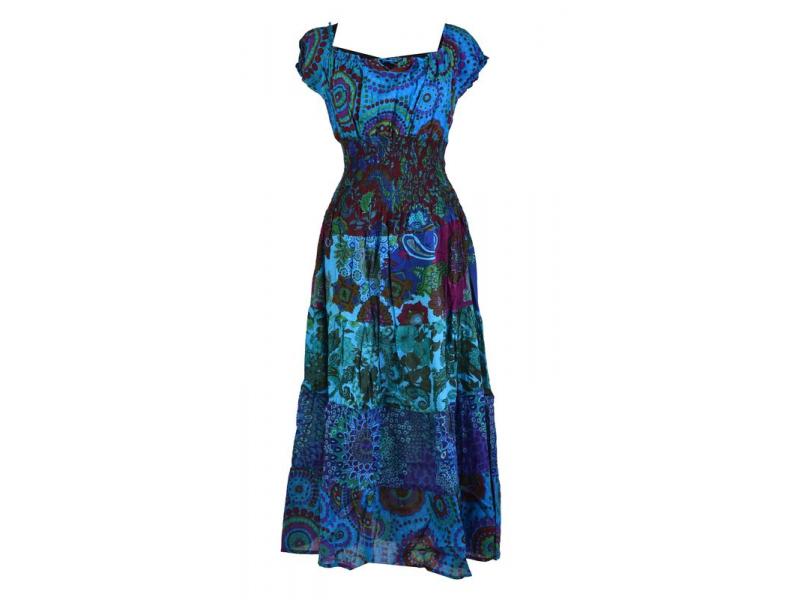 Dlouhé šaty s potiskem, balonový rukávek, modré