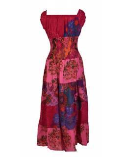 Dlouhé šaty s potiskem, balonový rukávek, růžové