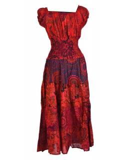 Dlouhé šaty s potiskem, balonový rukávek, červené