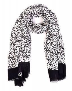 Sárong, floral design, černobílý, 110x180cm