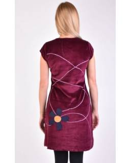 Krátké sametové vínové šaty s krátkým rukávem, aplikace barevné květiny